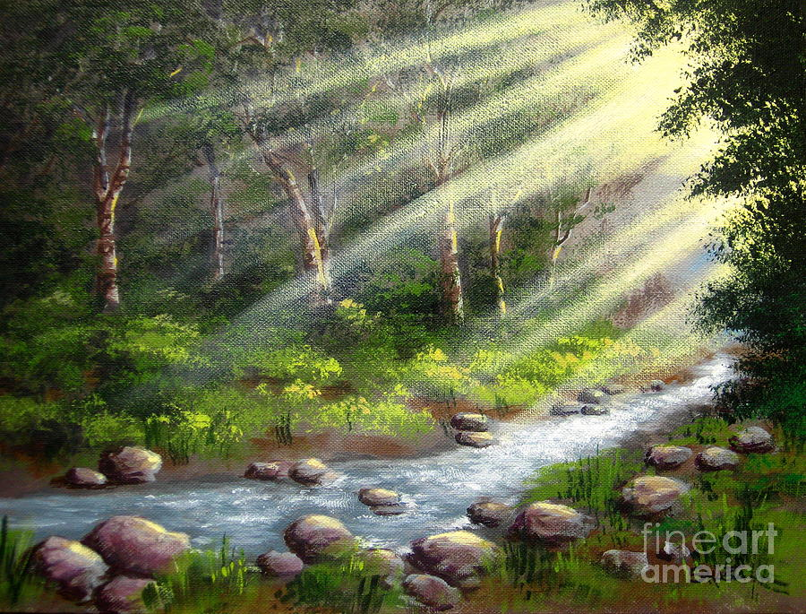 Landscape Painting - Sun  Streams  by Shasta Eone