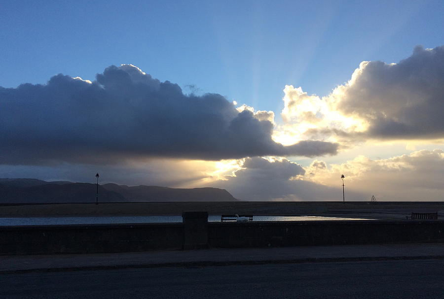 Sun Photograph - Sunbeams Over Conwy by Christopher Rowlands