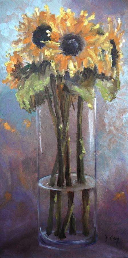 Sunflower Painting - Sunflower Bouquet by Donna Tuten