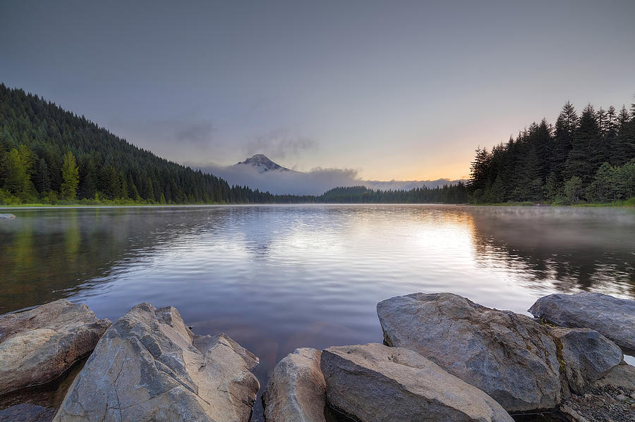 Sunrise Photograph - Sunrise at Trillium Lake by David Gn