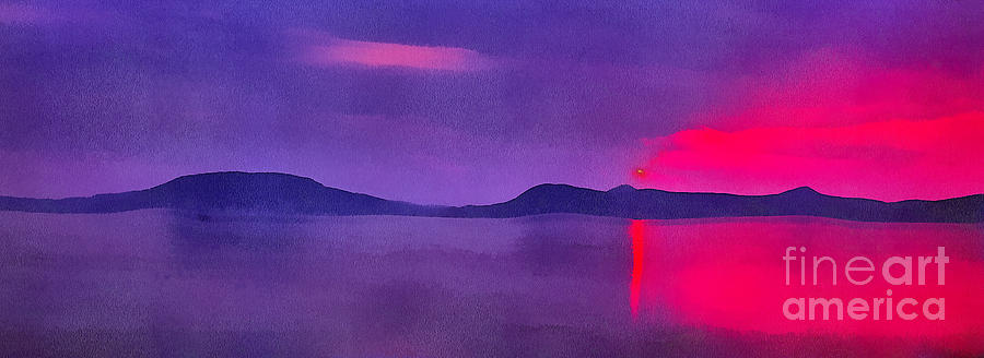 Lake Painting - Sunset On Balaton Lake by Odon Czintos