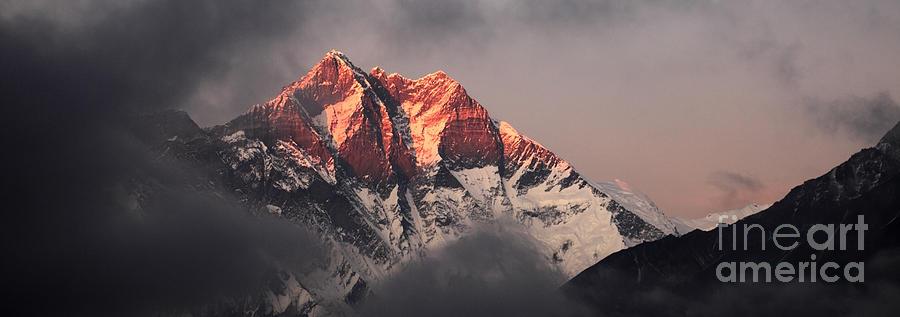 Sunset Snow Capped Lhotse Mountain Himalayas Nepal Photograph