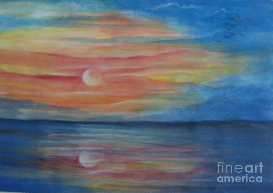 Sunset Painting - Sunset by Usha Rai
