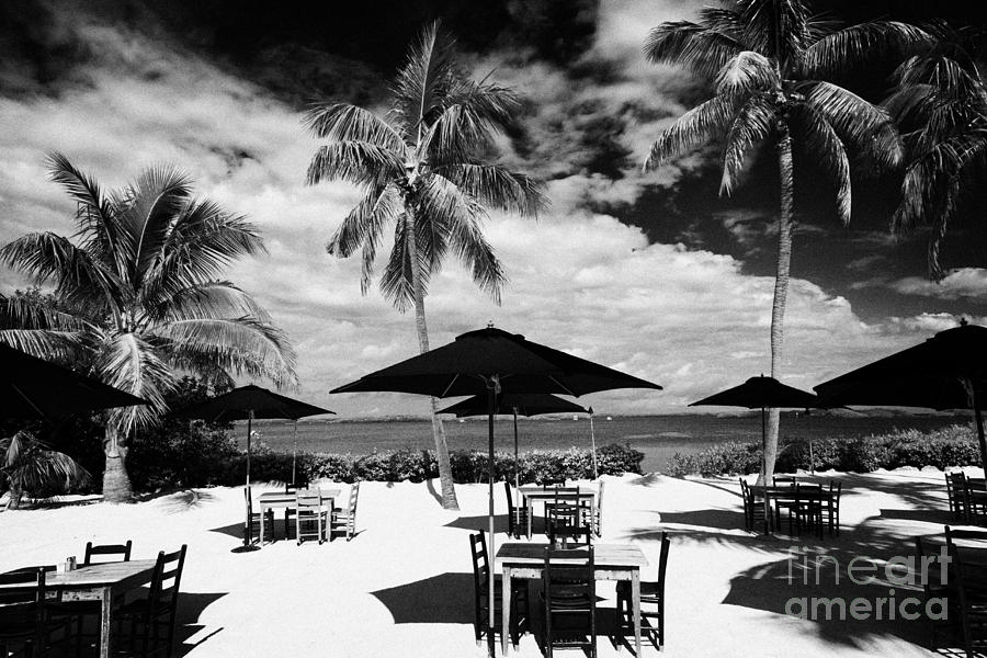 Tables Sun Recliners And Private Beach Surrounded By Palm