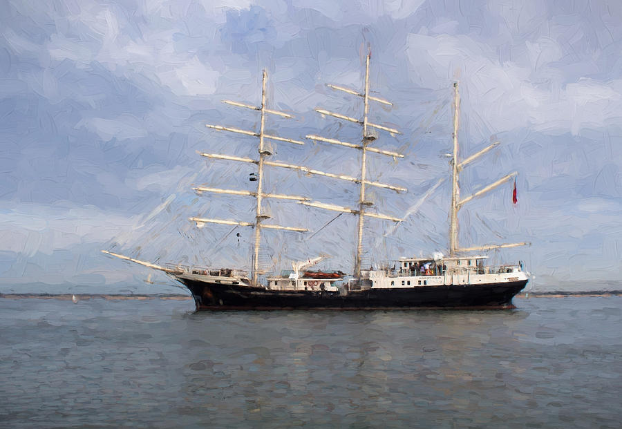Sea Photograph - Tall Ship At Anchor by Colin Porteous