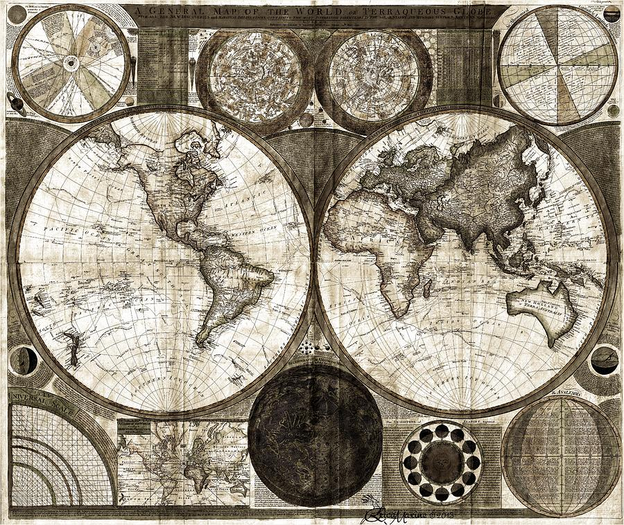 Map Of The World Photograph - Terraqueous Globe - Map Of The World by EricaMaxine  Price