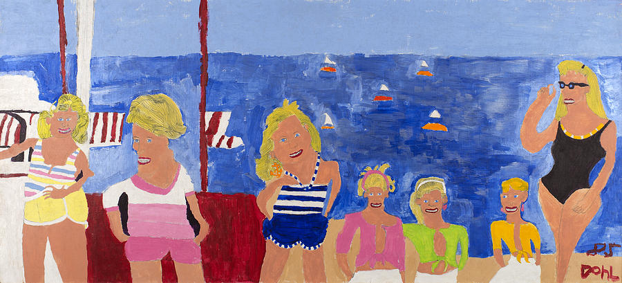 Naive Painting - The Beach Girls by Don Larison