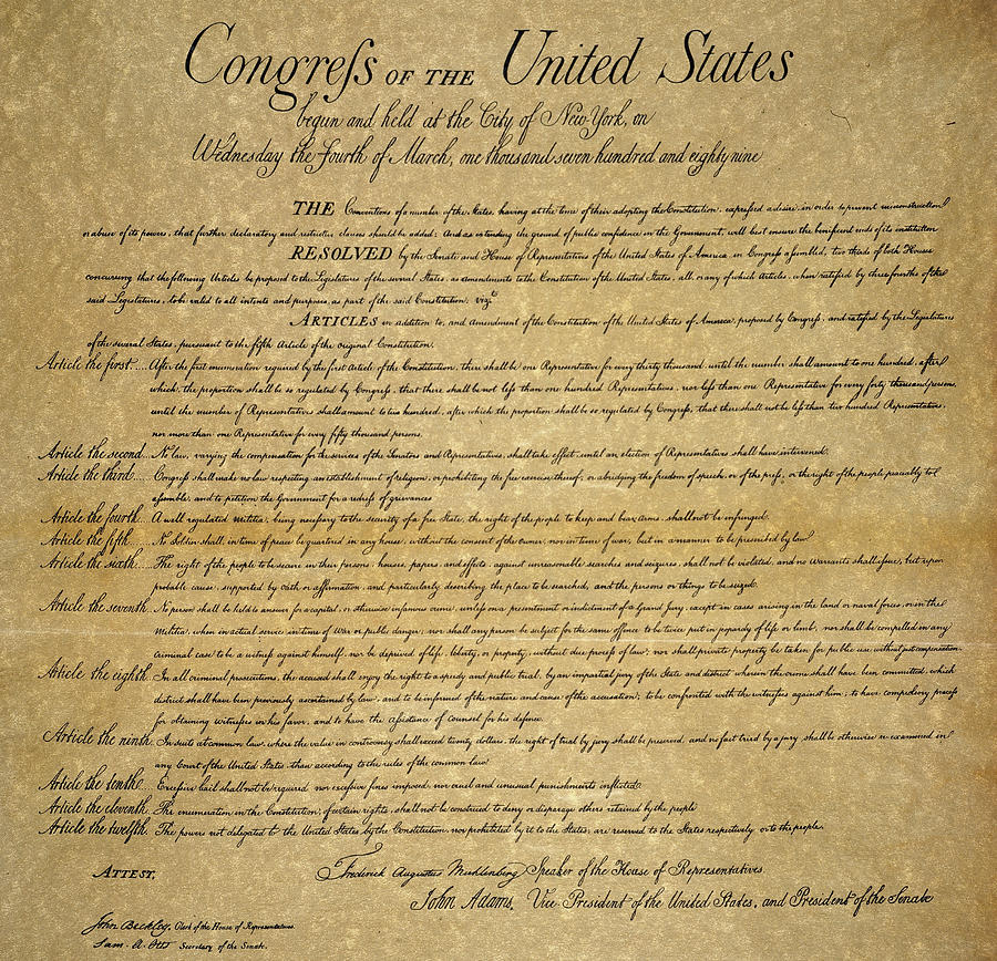 1789 Painting - The Bill Of Rights, 1789 by Granger