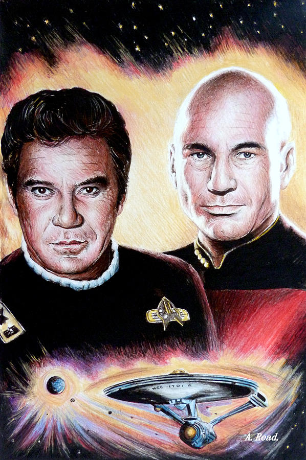 Star Trek Drawing - The Captains   by Andrew Read