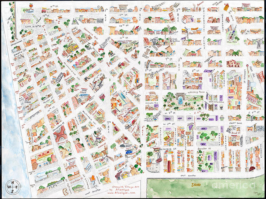 The Greenwich Village Map by AFineLyne