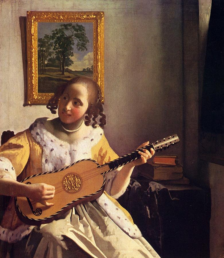 Girl Playing Guitar Painting - The Guitar Player by Johannes Vermeer