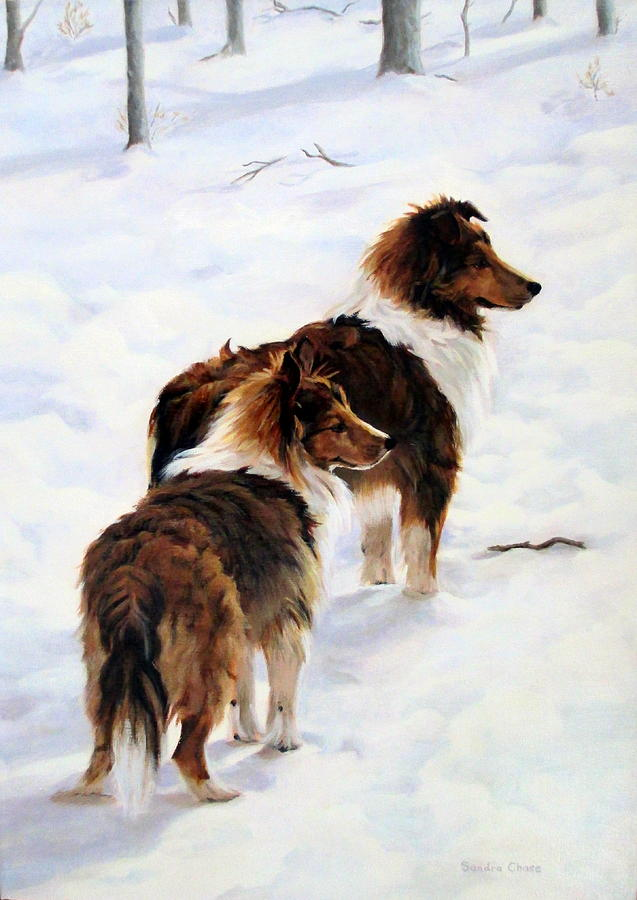 Dog Painting - The Little Sentinels by Sandra Chase