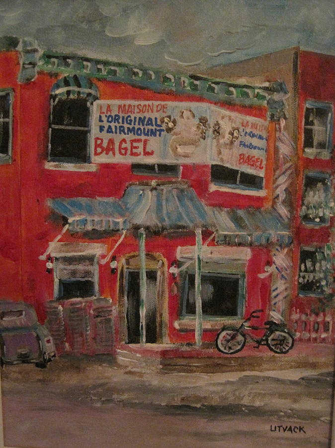Bage Painting - The Other Bagel Factory by Michael Litvack