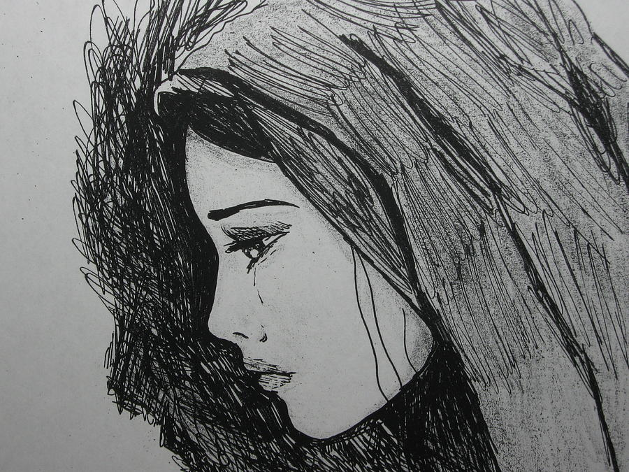 Virgin Mary Drawing - The Pain Of Parting by Donatella Muggianu