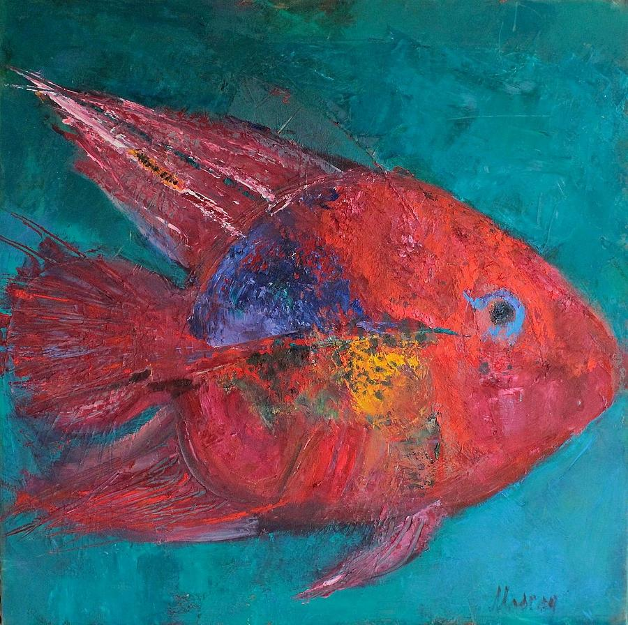 Fish Painting - The Red Fish by Cornelia Margan