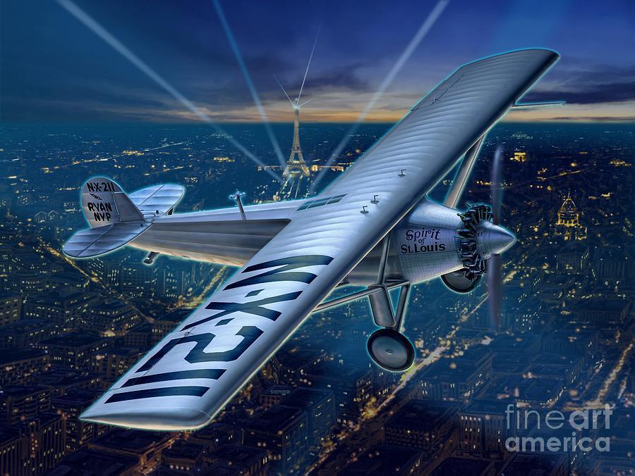 Lindbergh Digital Art - The Spirit Over Paris by Stu Shepherd