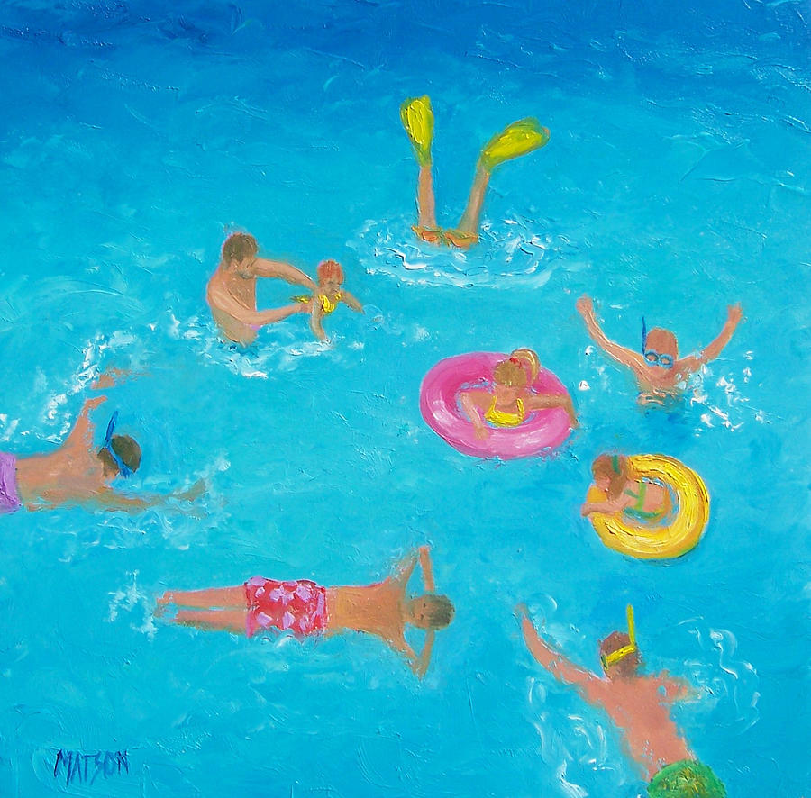 Beach Painting - The Swimmers by Jan Matson