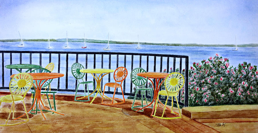 Watercolor Painting - The Terrace View by Thomas Kuchenbecker