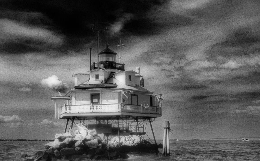 Thomas Point Shoal Lighthouse Black And White Photograph