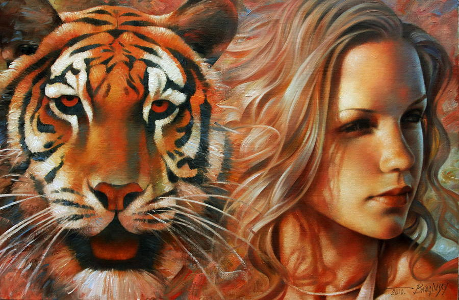 Portrait Paintings Painting - Tiger by Arthur Braginsky