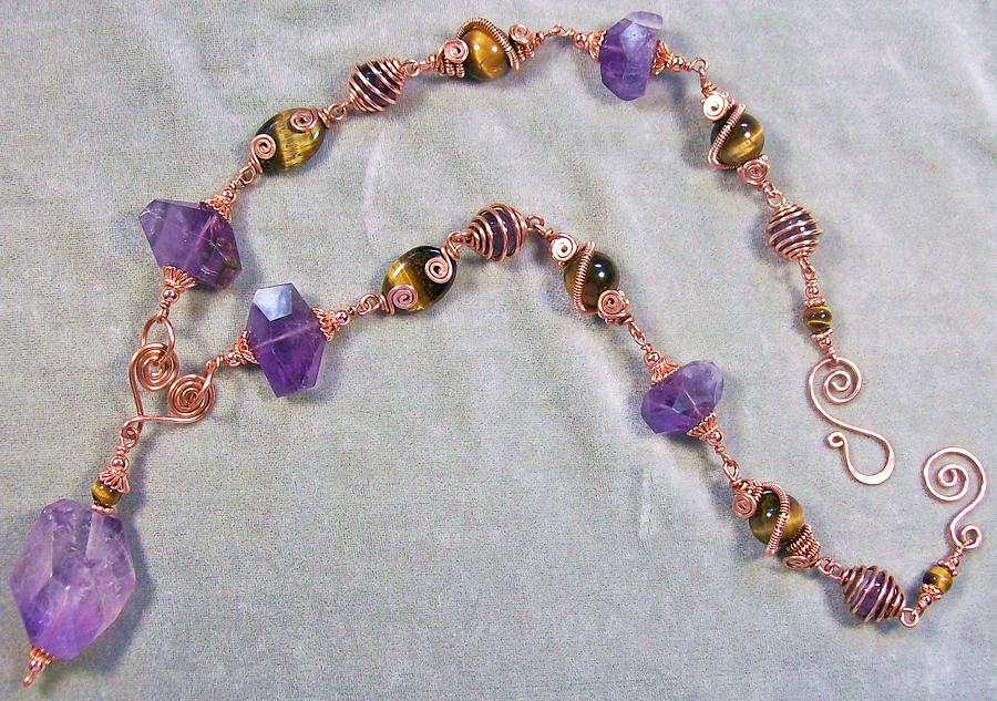 Tiger Eye Jewelry - Tiger Eye And Amethyst With Copper Necklace by Heather Jordan