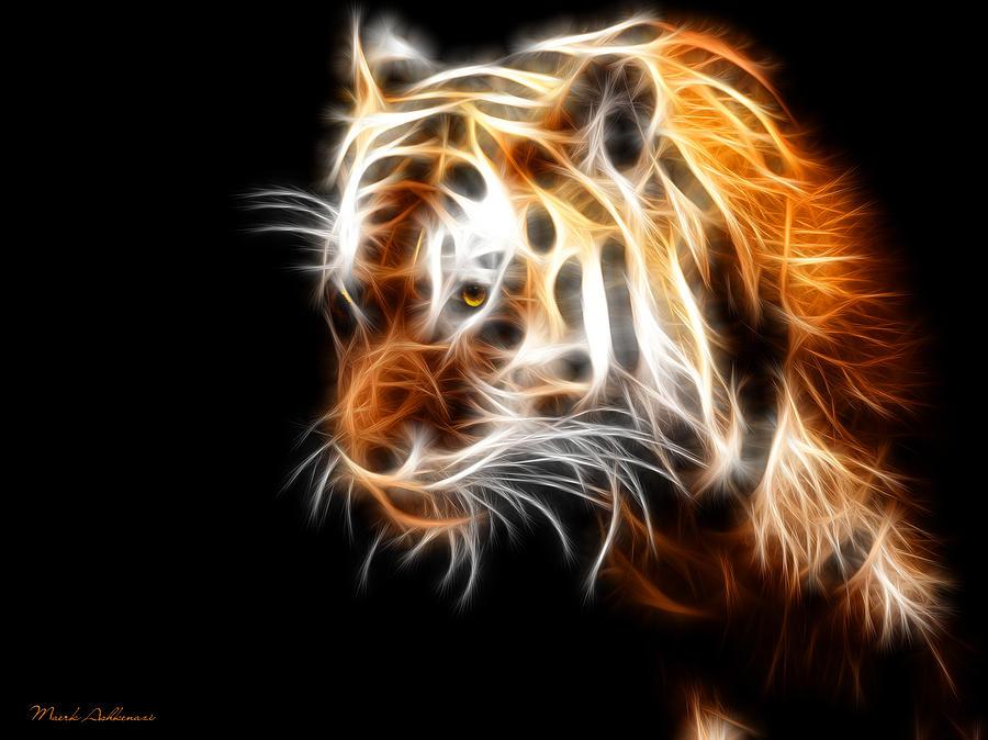 Tiger Digital Art - Tiger  by Mark Ashkenazi