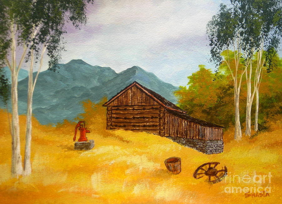 Landscape Painting - Tobacco  Barn by Shasta Eone