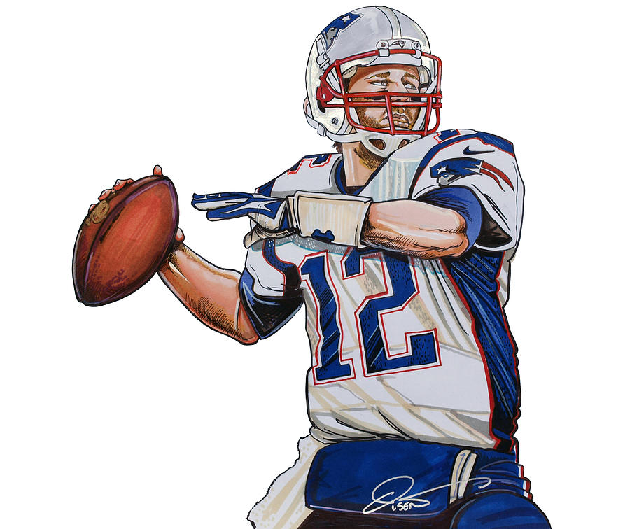 Rob Rob Gronkowski >> Tom Brady Drawing by Dave Olsen