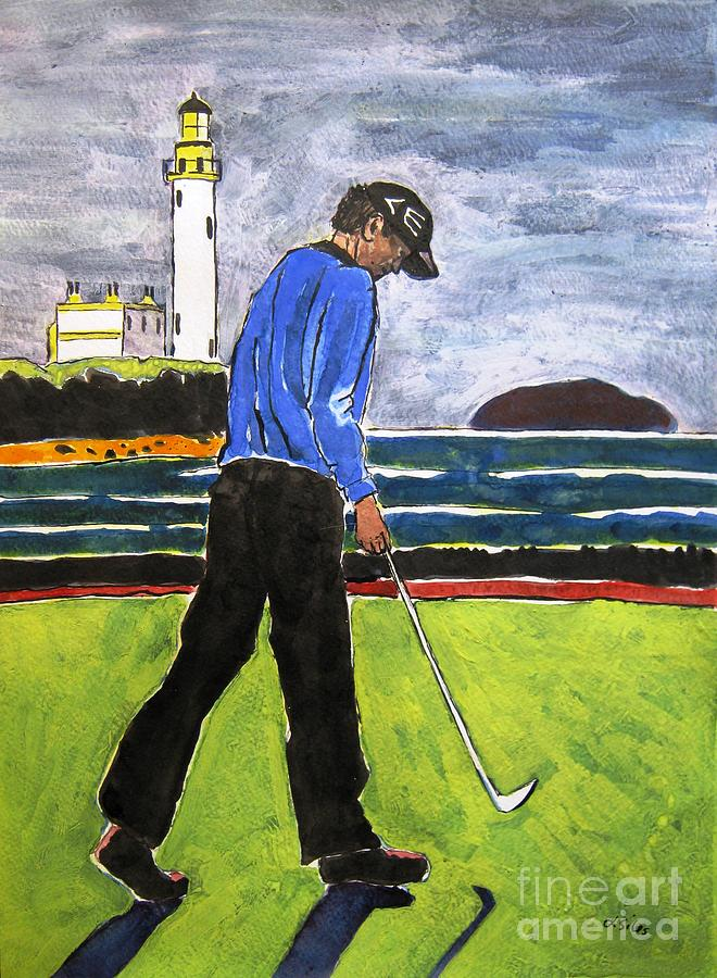 Tom Watson Painting - Tom Watson Turnberry 2009 by Lesley Giles