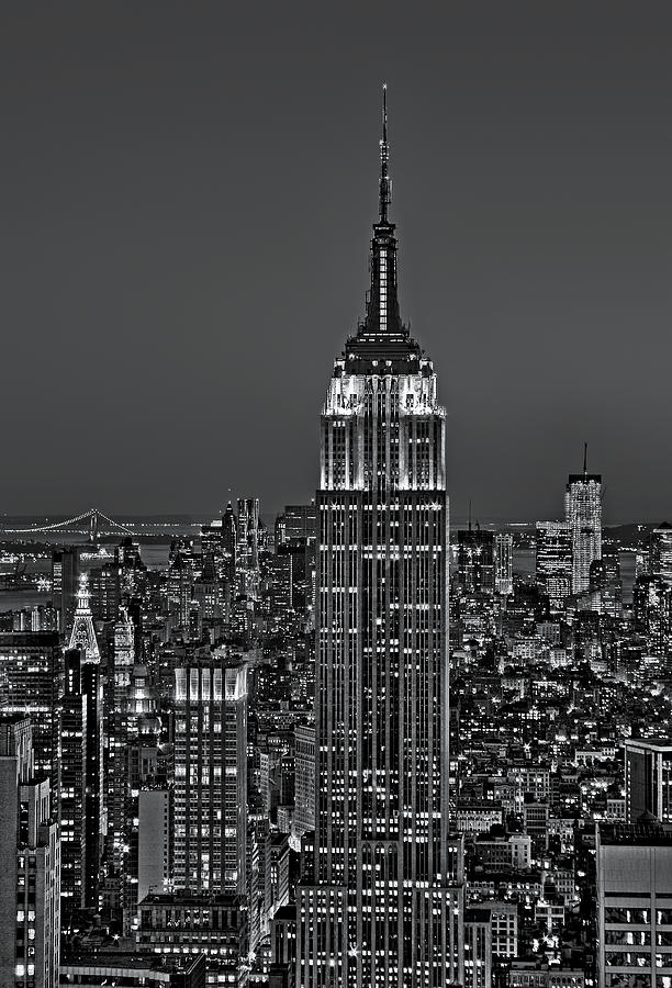 Aerial Photograph - Top Of The Rock Bw by Susan Candelario