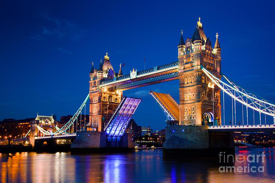 Tower Photograph - Tower Bridge In London Uk At Night by Michal Bednarek