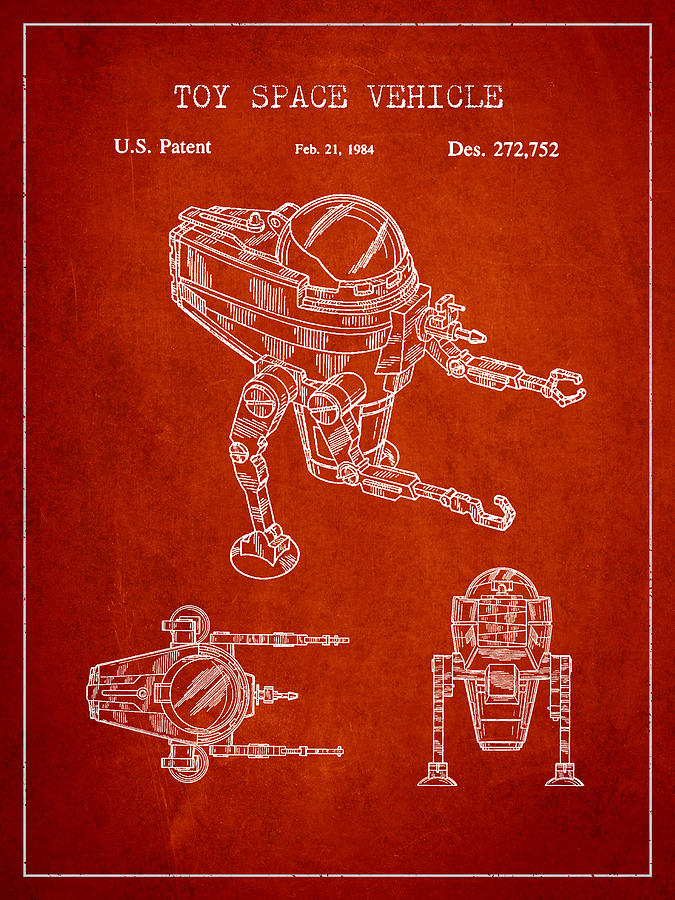 Starwars Digital Art - Toy Space Vehicle Patent by Aged Pixel