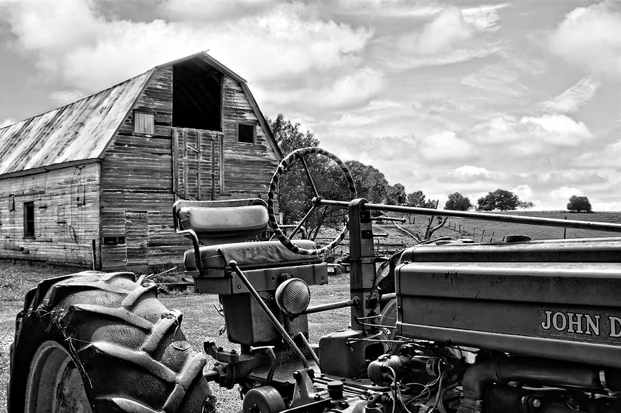 Tractor Photograph - Tractor Barn - Black And White by Nikolyn McDonald