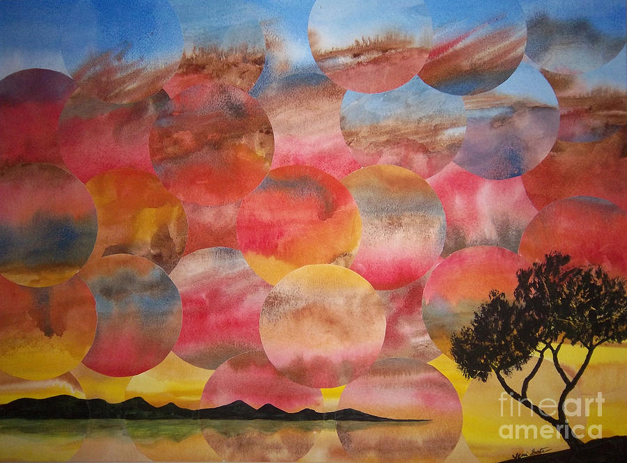 Sky Painting - Tranquility With Tree by Jeni Bate