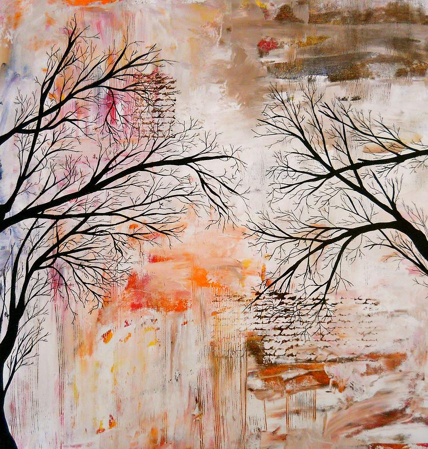 Abstract Art Paintings Painting - Tree Silhouette Painting by Laura Carter