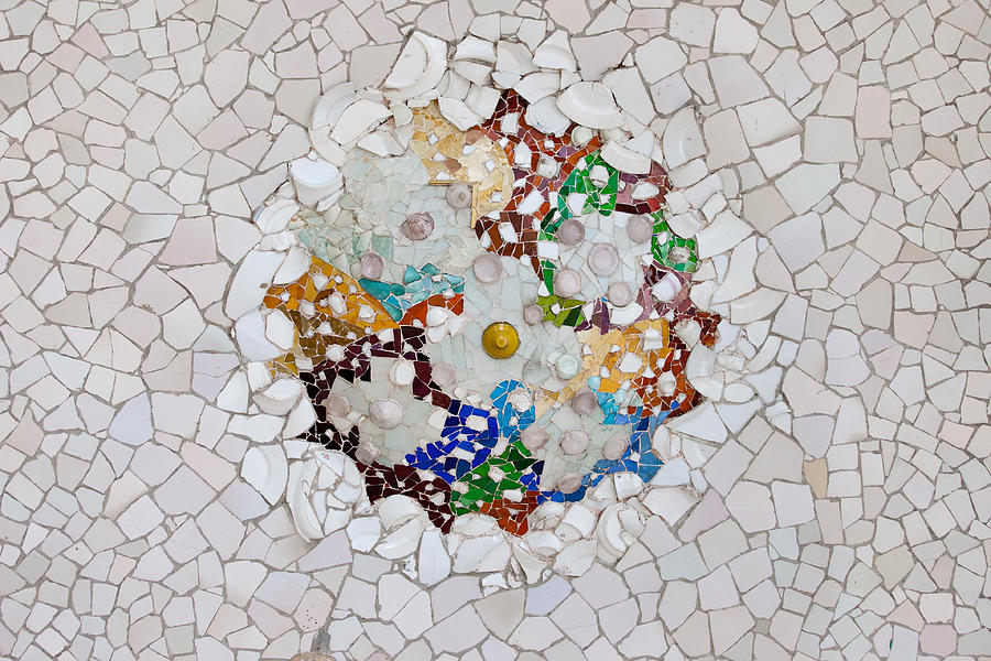 Park Photograph - Trencadis Mosaic In Park Guell In Barcelona by Artur Bogacki
