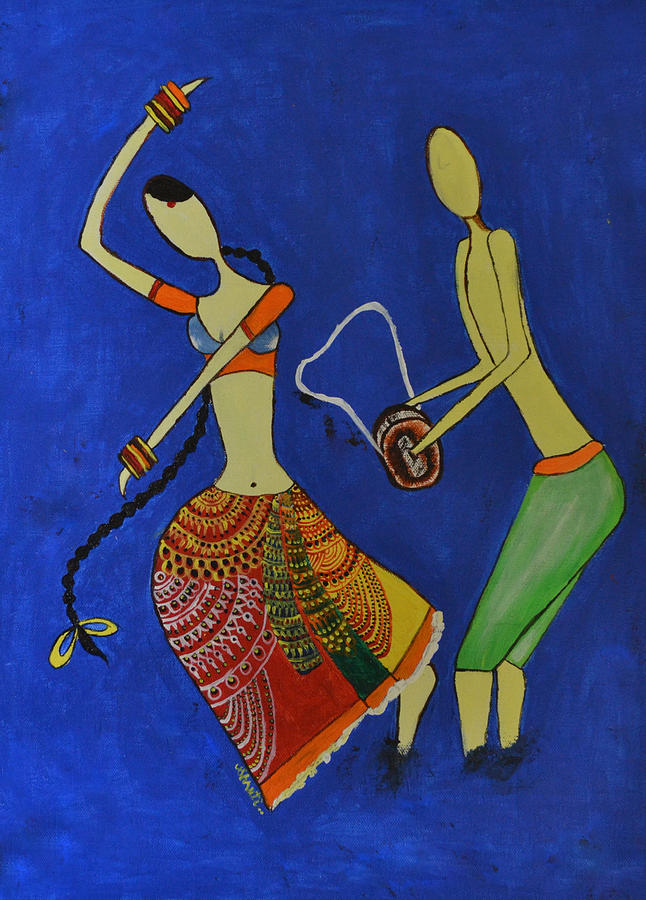 Indian Contemporary Artwork Painting - Tribal Dance From India by Shruti Prasad