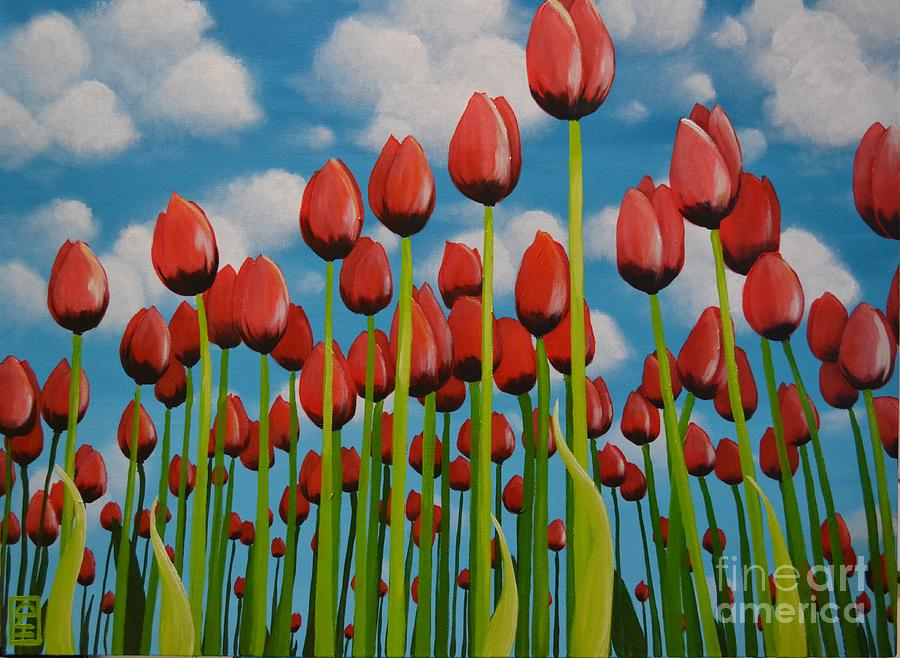 Tulip Festival Painting - Tulip Festival by Holly Donohoe