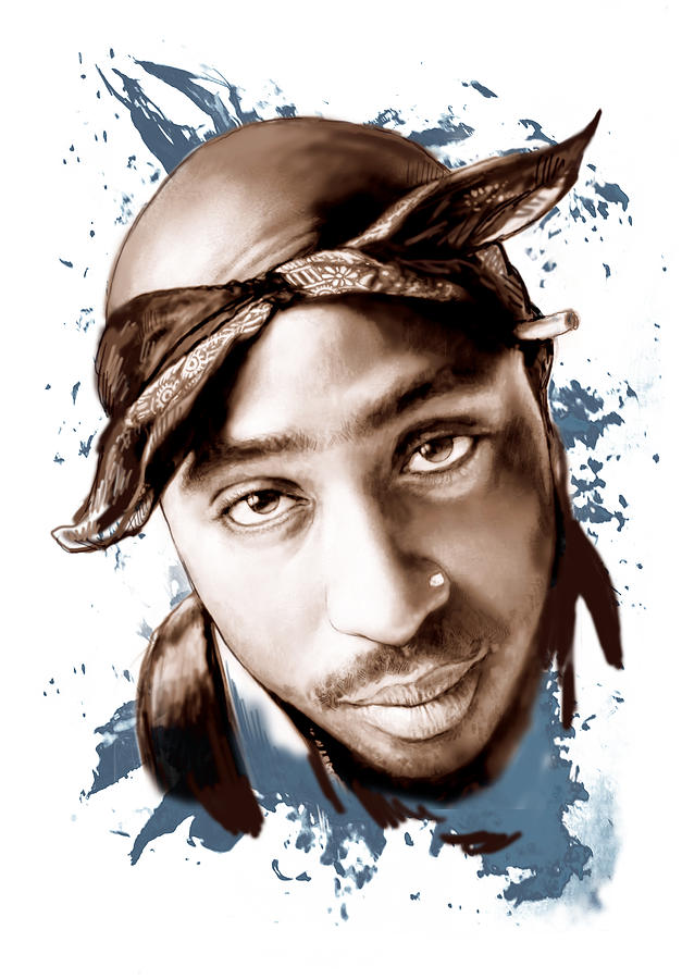Tupac Shakur Colour Drawing Art Poster Painting By Kim Wang