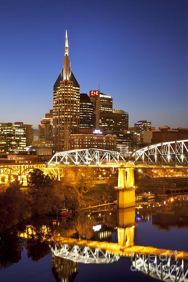 Nashville Photograph - Twilight Over Nashville Tennessee by Brian Jannsen