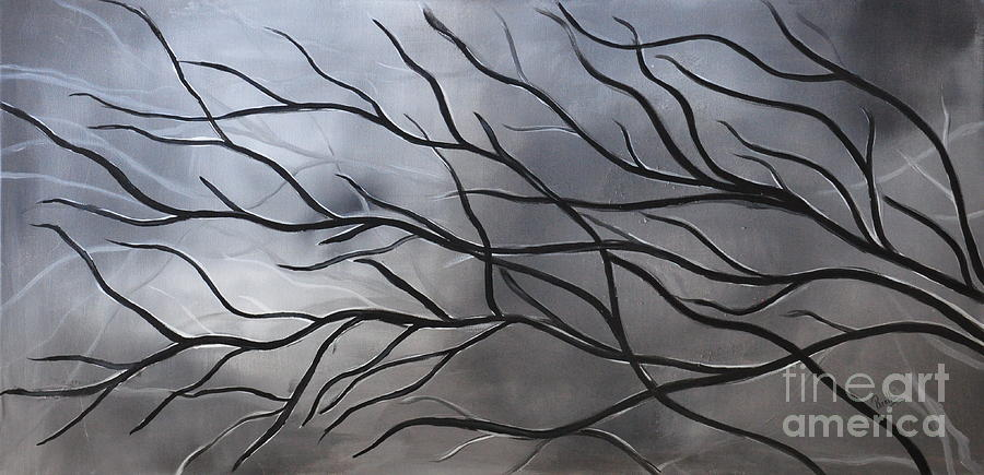 Black And White Painting Painting - Twilight Tree by Preethi Mathialagan
