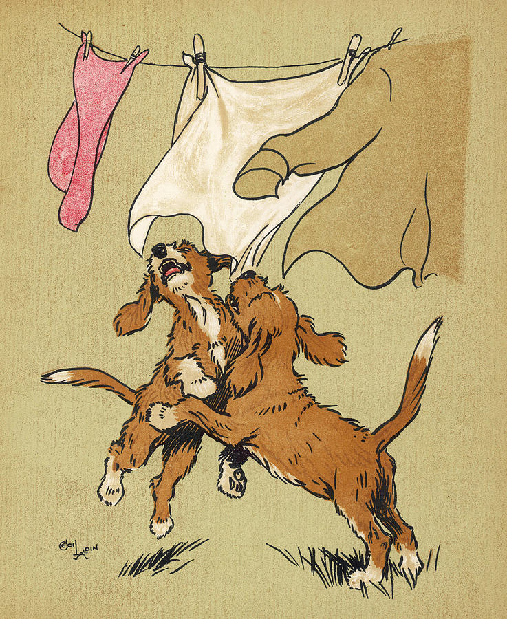 Twin Drawing - Twin Puppies, Snip And Snap by Mary Evans Picture Library