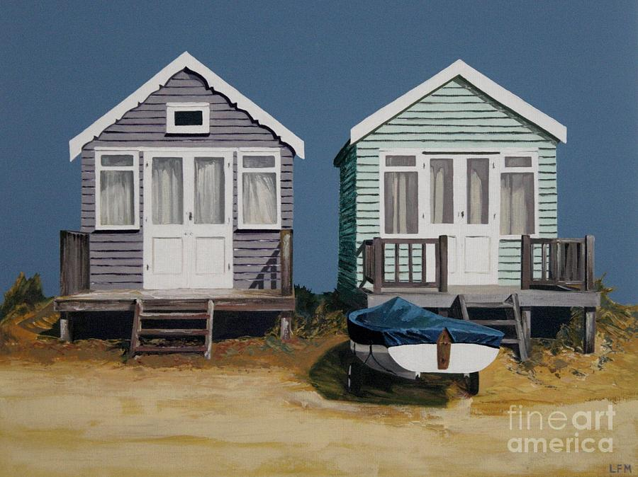 Beach Hut Painting - Two Beach Huts And Boat by Linda Monk