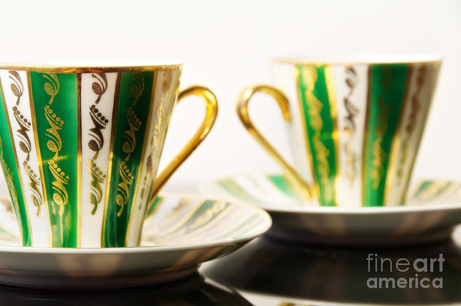 Coffee Photograph - Two Coffee Cups by Aleksey Tugolukov