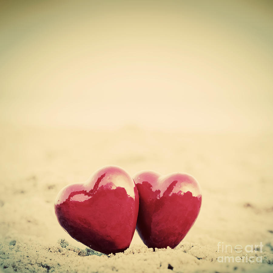 Two Red Hearts On The Beach Symbolizing Love Photograph By Michal