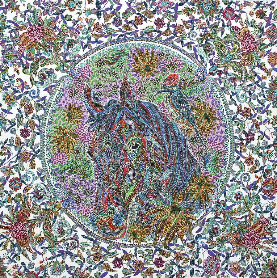 Horse Painting - Unaware by Erika Pochybova