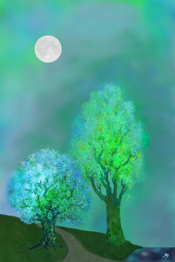 Twilight Digital Art - unbordered DREAM TREES AT TWILIGHT by Mathilde Vhargon