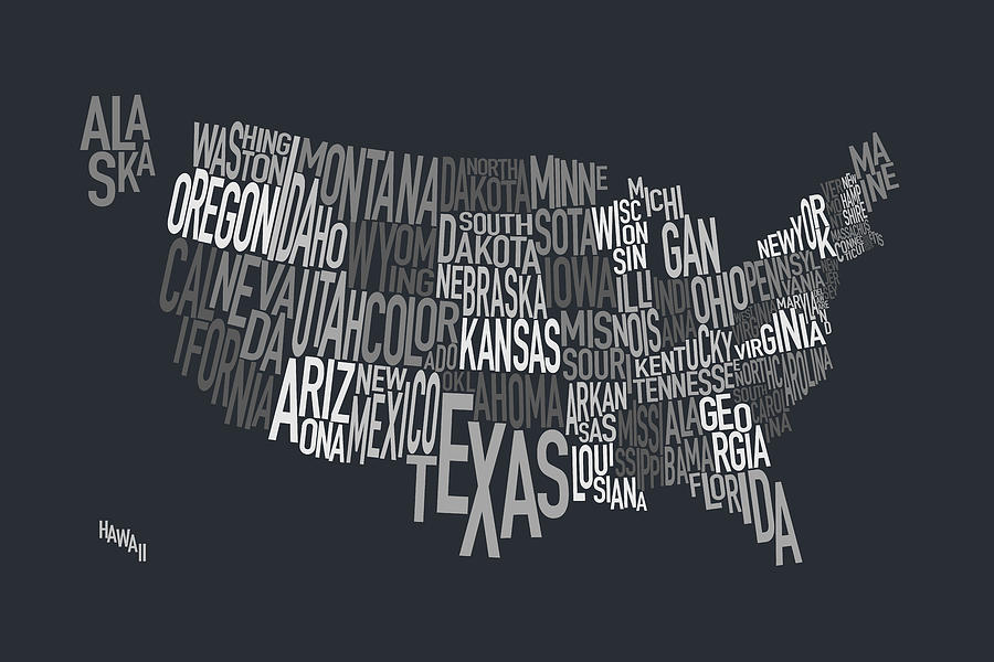 United States Text Map Digital Art by Michael Tompsett