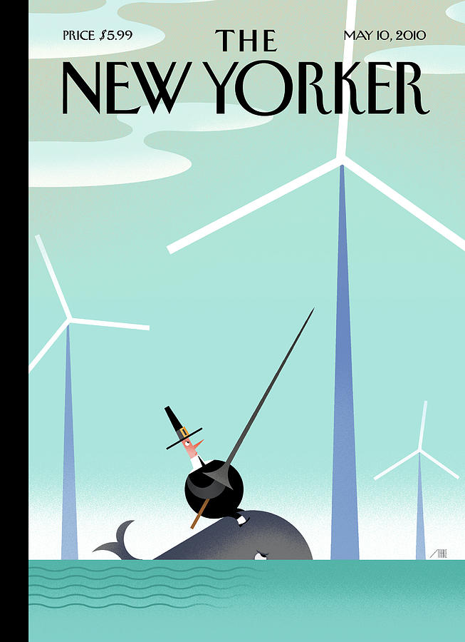 Wind Farm Painting - New Yorker May 10th, 2010 by Bob Staake