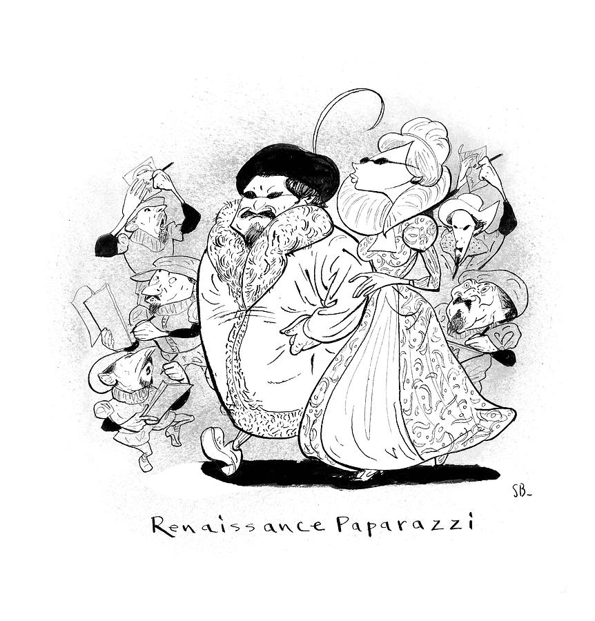 Captionless; Renaissance Paparazzi Drawing by Steve Brodner